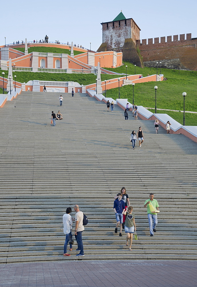 View of the Chkalov Stairs leading to the Kremlin in Nizhny Novgorod on the Volga river, Russia, Europe - 1188-919