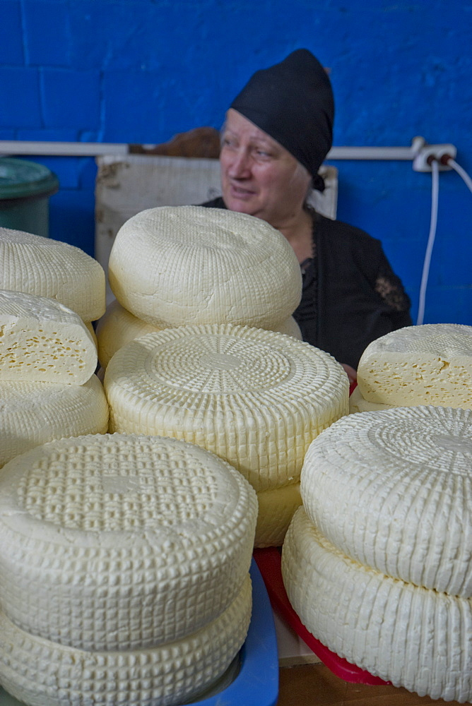 Traditional Sulguni cheese for sale at the market in Kutaisi, Georgia, Central Asia, Asia