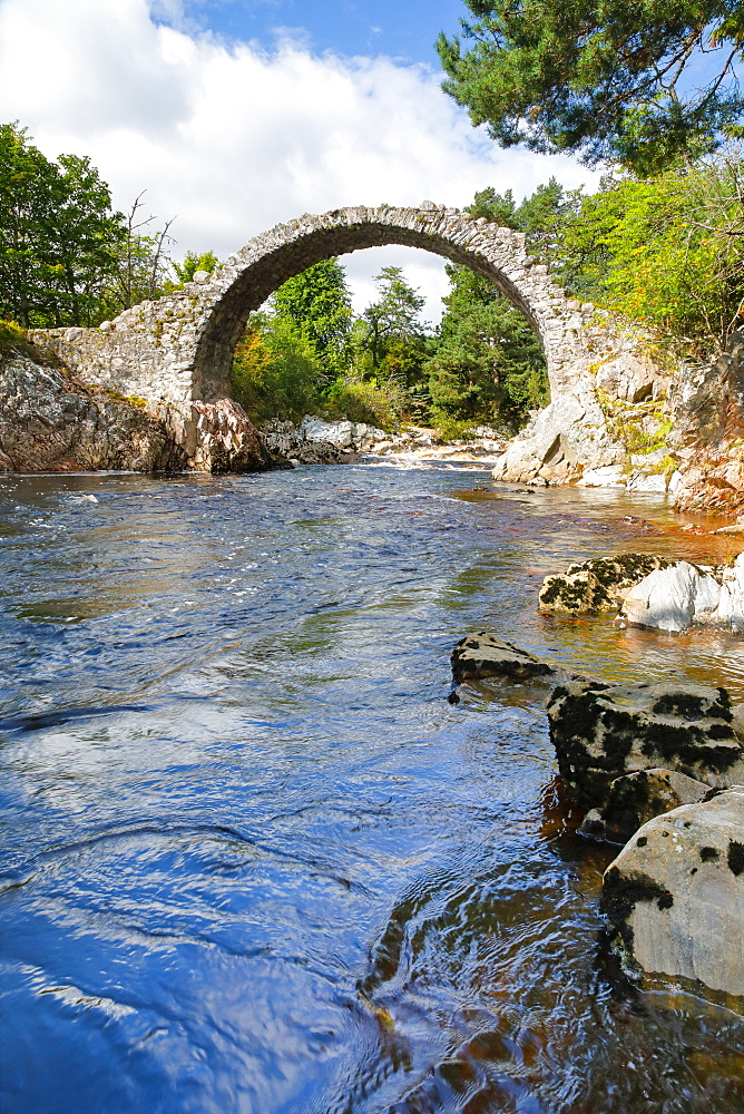 Carrbridge, oldest stone bridge in the Highlands, Scotland, United Kingdom, Europe