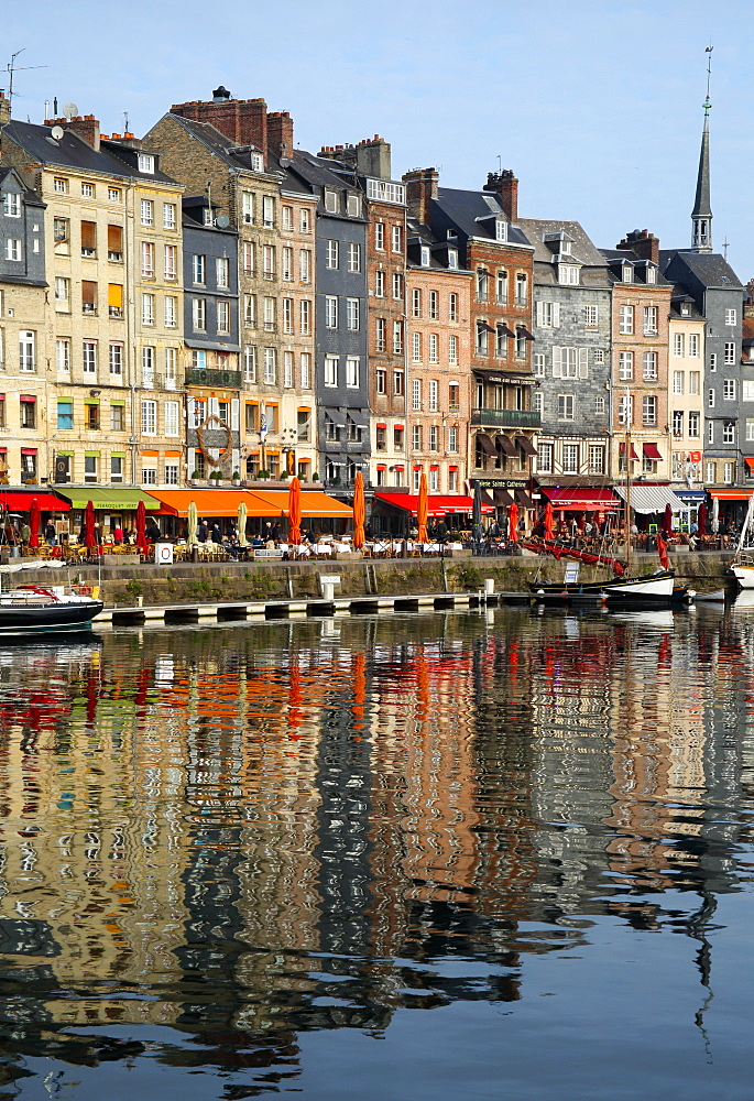Vieux Bassin, Old Port, with houses reflected in harbour, Honfleur, Normandy, France, Europe - 1191-48