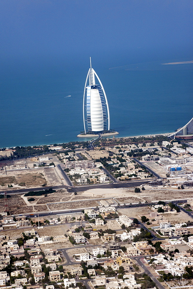 Burj Al Arab hotel in Jumeirha in Dubai. Air photograph - 1192-142