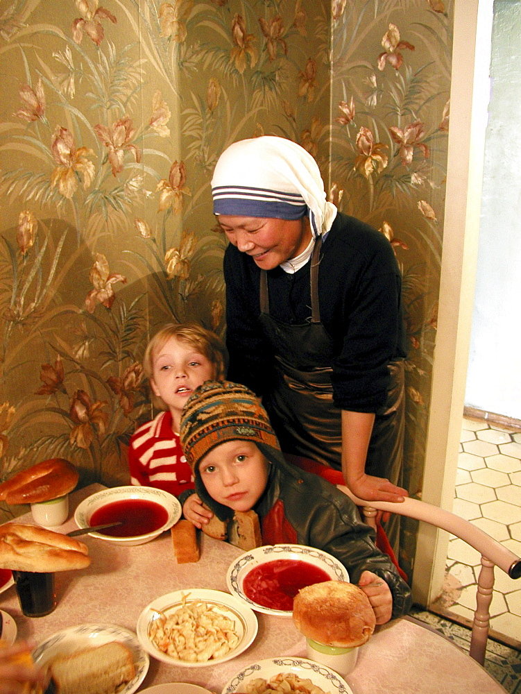 Russia - soup kitchen run by mother teresas sisters of charity for the poor and elderly, yuzhno sakhalinsk, sakhalin island, russian far east