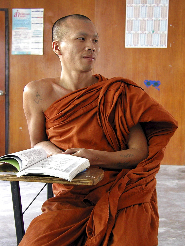 Thailand burmese buddhist monk at wat po pao english class, chiang mai