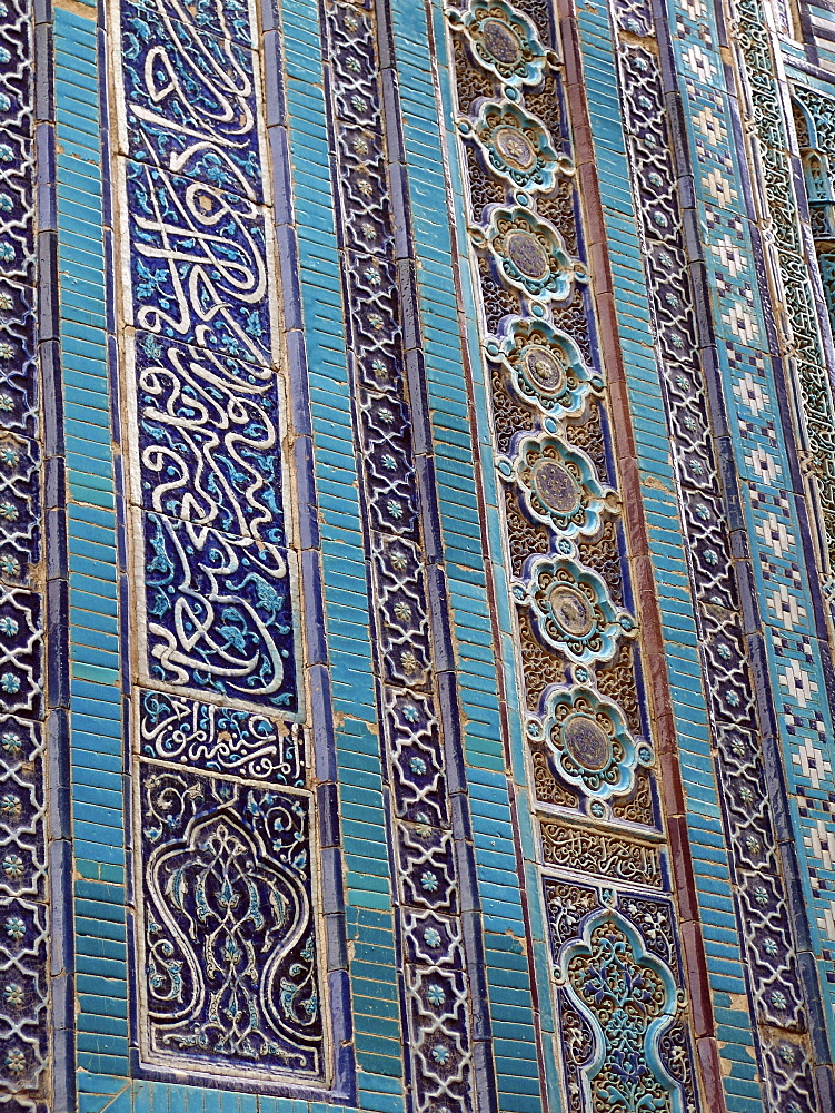 Uzbekistan detail of tilework at shah-i-zinda necropolis of mausolea, samarkand