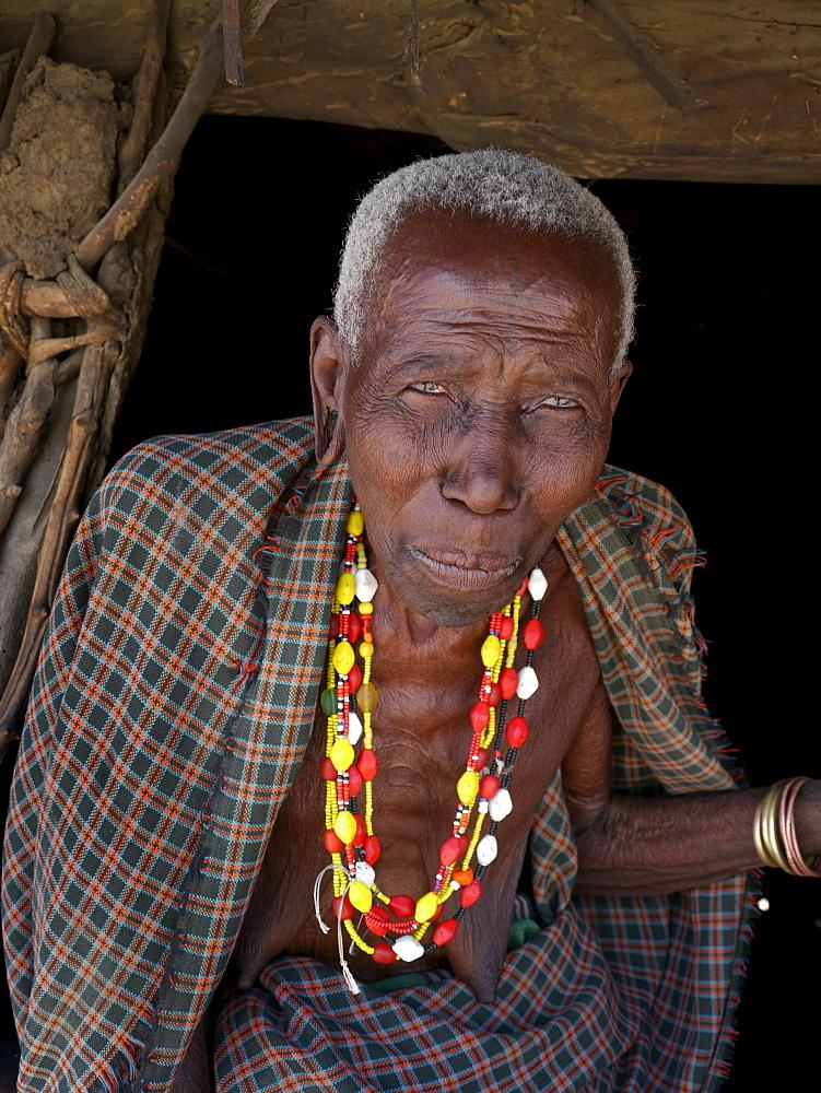 TANZANIA Watatulu tribesmen of Miyuguyu, Shinyanga district. Old woman. photograph by Sean Sprague