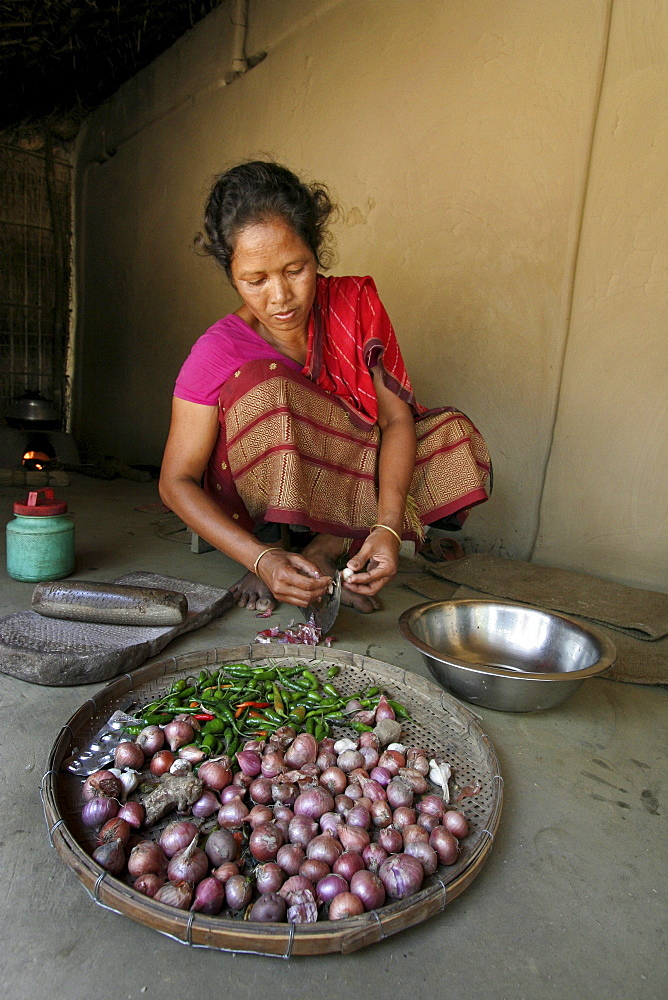 Bangladesh alpona ritchil, a woman of the garo tribal minority chops onions and garlic, ready for cooking, haluaghat, mymensingh region