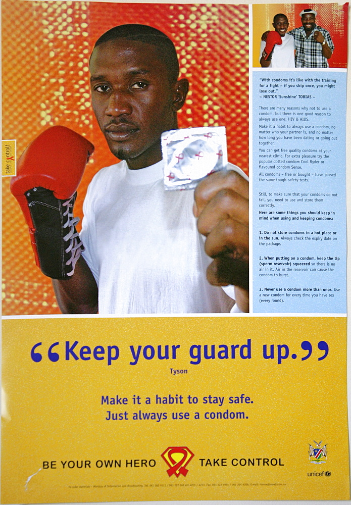Namibia aids prevention poster at an testing clinic in windhoek