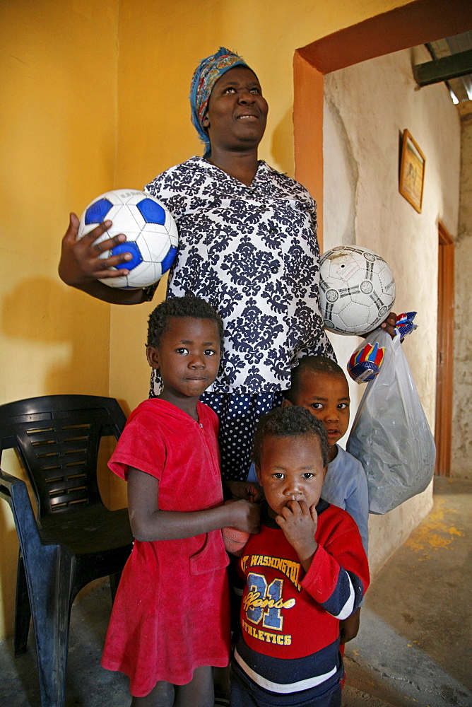 Namibia woman with three of eight children, katatura, a black township of windhoek, dating from apartheid. Windhoe