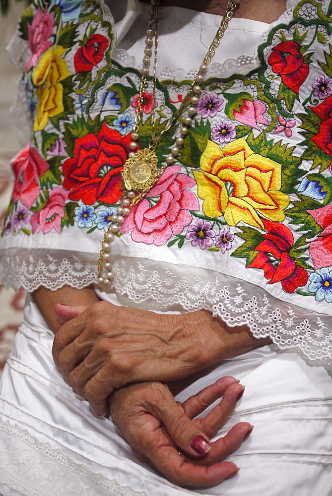 MEXICO Detail of Yucatan style ladies blouse with embroidery, Merida, Yucatan