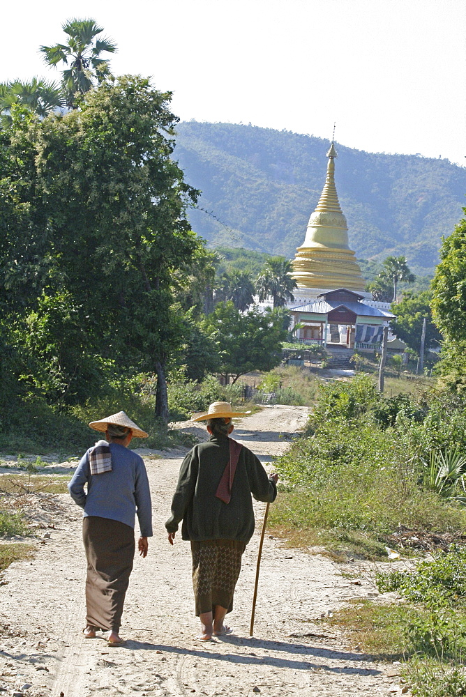 Myanmar stupa women walking, mingun, near mandalay