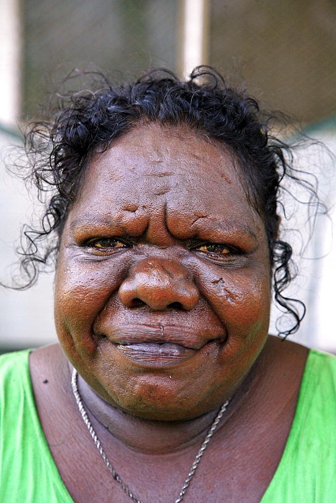Australia. Woman of aborige community of , or beswick, arnemland, northern territory. 2007