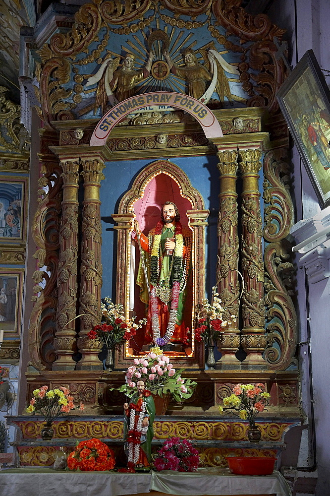 India. Pilgrimage to malayattoor, a hill which saint thomas the apostle is believed to have climbed around 55 ad, leaving his footprints at the top. It is a major pilgrim centre for christians as well as hindus and moslems, who believe the trip can cure them of physical and mental disease. Kerala. Statue of thomas in the lower church