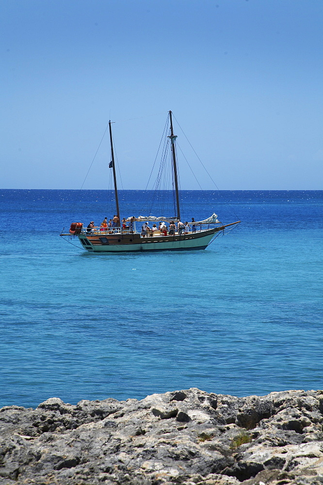 Jamaica. Tourist sailing boat at montego bay