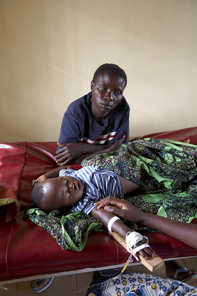 Tanzania baby sick with cerebral malaria, kowak hospital