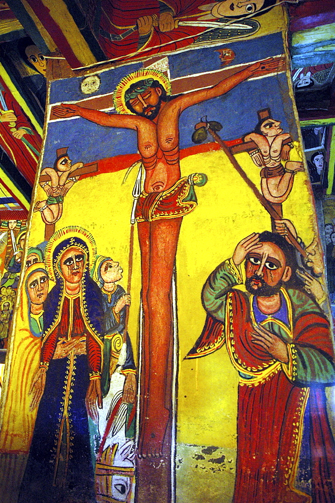 Religion, ethiopia. 17th –19th century murals in new gondar style, inside saint teclaima church axum