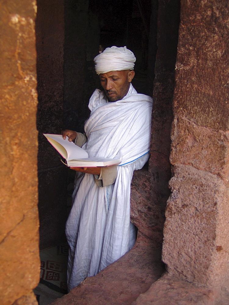 Religion, ethiopia. Priest at beta meskal church, lalibela