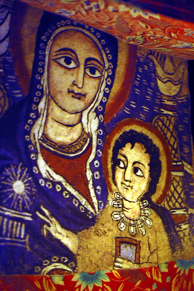 Religion, ethiopia. Rock-hewn church of arbatu ensessa, 35 kms from lalibela. Mural within church