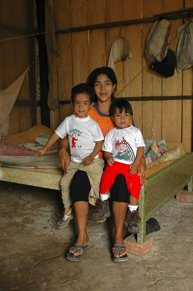 Colombia very poor mother and 2 sons, barrancabermeja