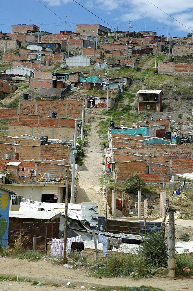 Colombia sprawling slum development at altos de cazuca, bogota