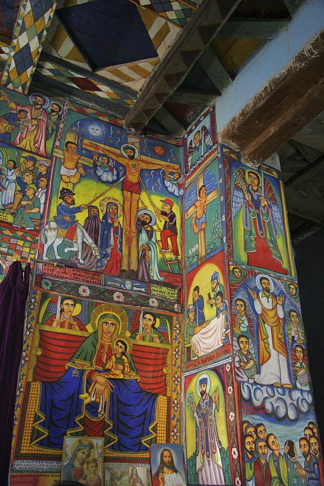 Ethiopia interior of church at abuna garima monastery, tigray