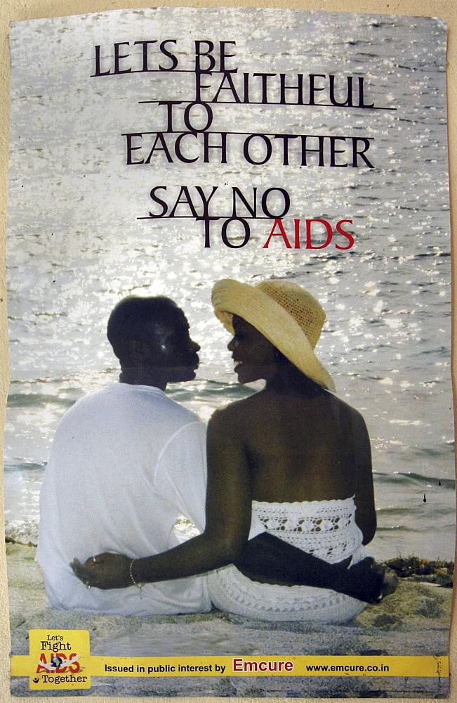 Kenya anti aids, faithfullness poster, in a clinic in mombasa