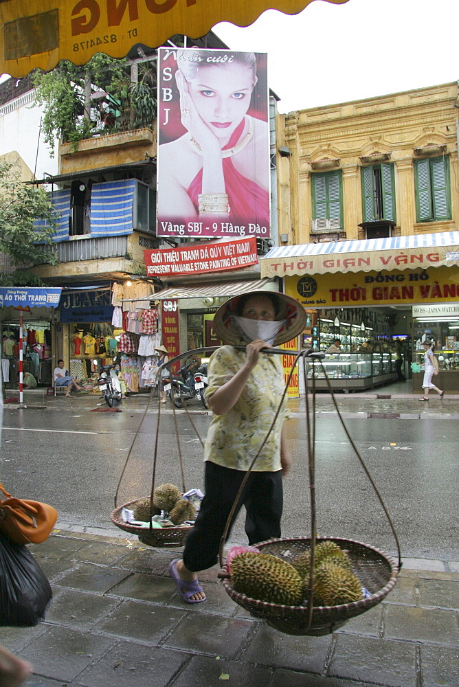 Vietnam woman carrying durian, hanoi