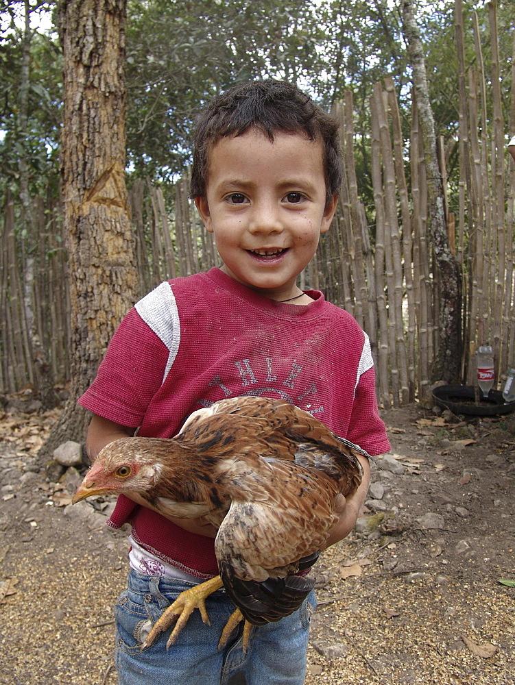 Honduras boy holding a chicken, marcala