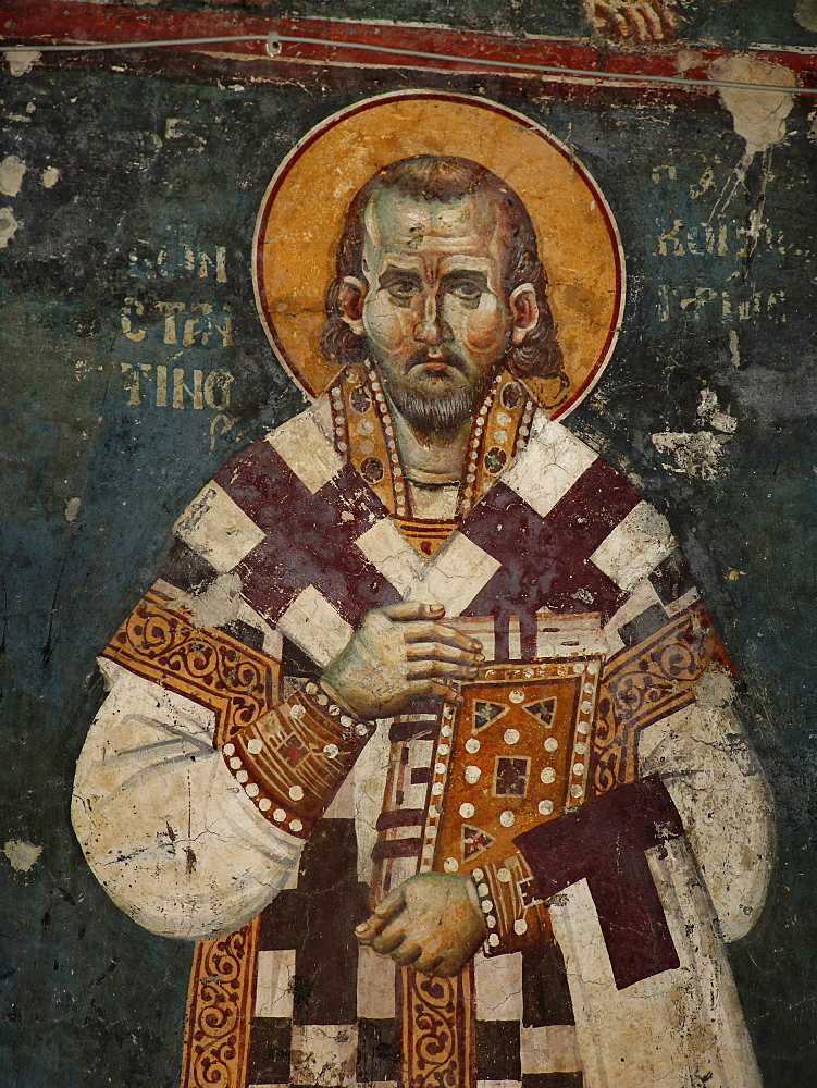 Macedonia (the former yugoslav republic of macedonia, fyrm) saint constantin of kavasila. 13th century frescoes inside the orthodox church of saint clement, ohrid