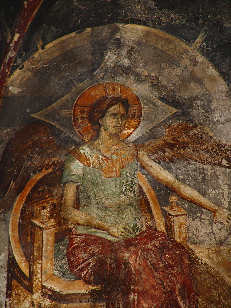 Macedonia (the former yugoslav republic of macedonia, fyrm) 13th century frescoes inside the orthodox church of saint clement, ohrid