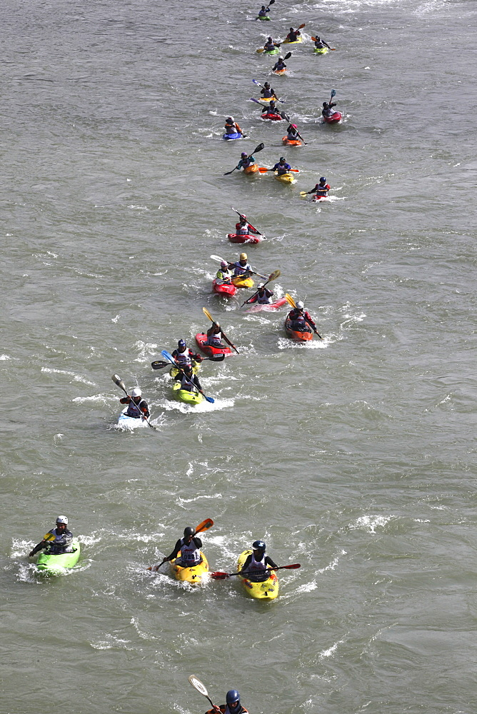 Paddlers race from a Le Mans style mass start, head to head down a stretch of challenging class 4 whitewater. Trisuli, Nepal