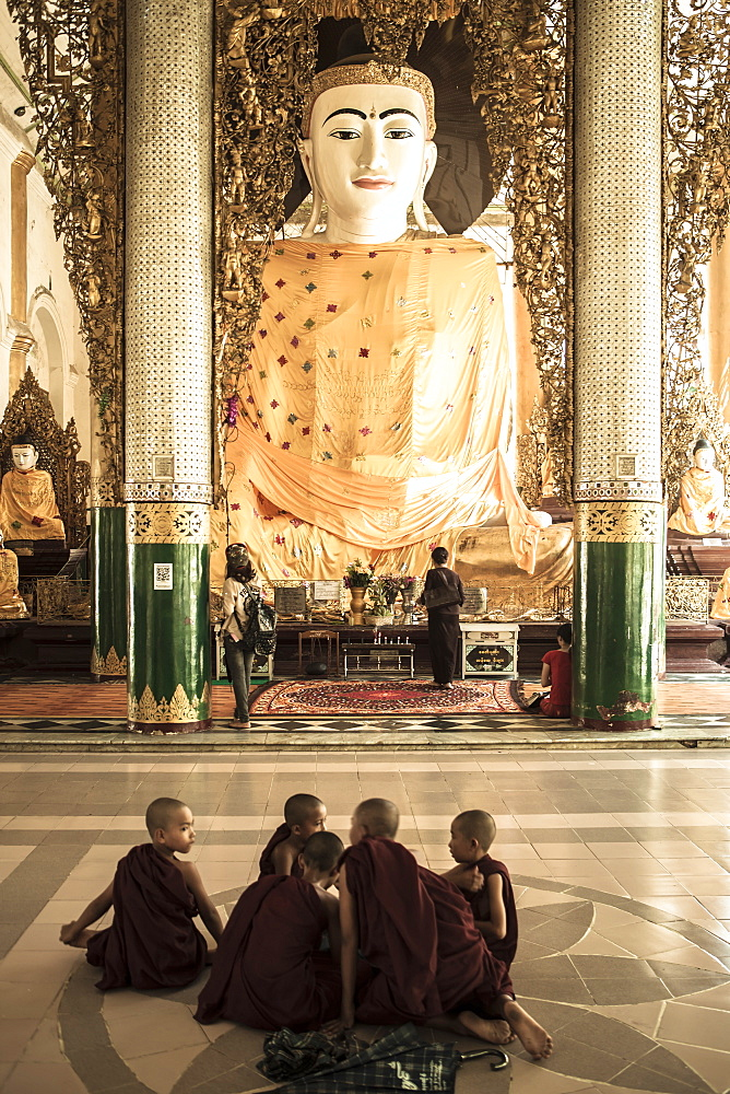 Novice monks who have just performed Shin Pyu at Shewdagon Paya, Yangon (Rangoon), Myanmar (Burma), Asia - 1196-267