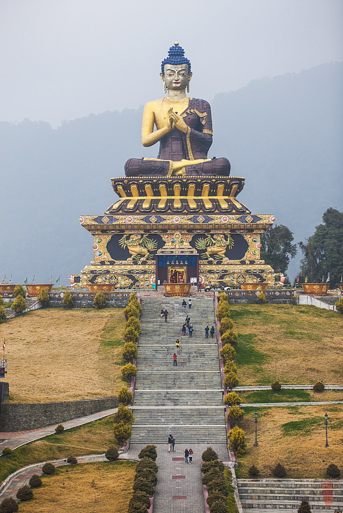 The Buddha Park of Ravangla (Tathagata Tsal) with 130-foot high statue of the Buddha, situated near Rabong, Sikkim, India, Asia - 1196-293