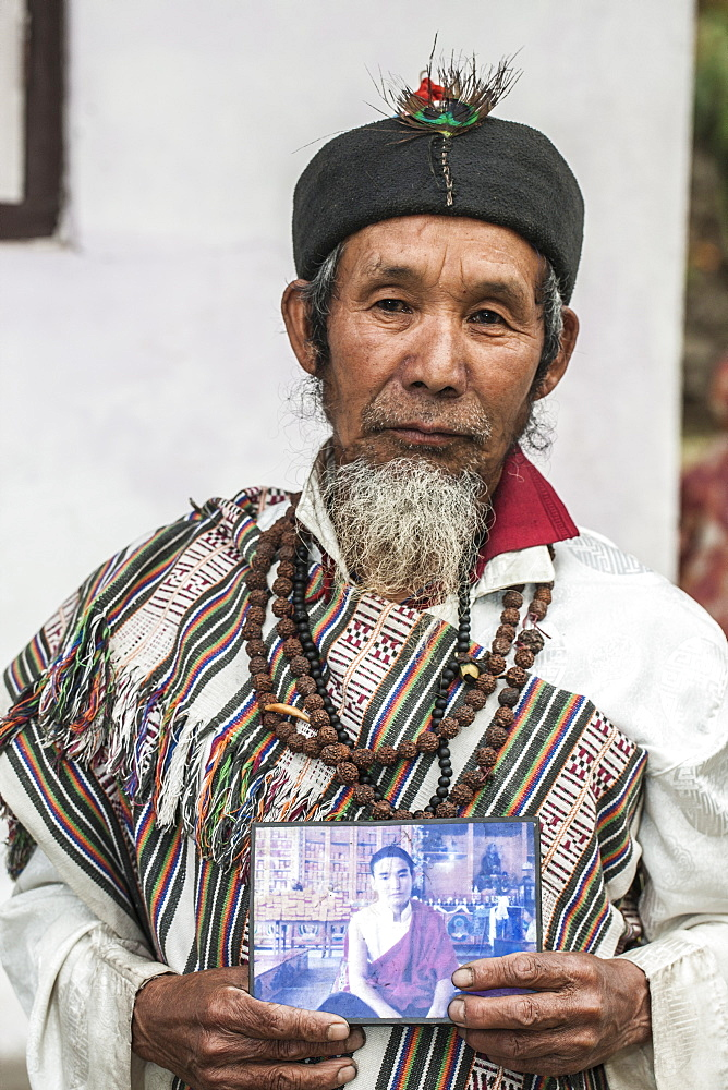Naphe Lepcha, 70, is a Bhom Thing (a dhami who channelize nature), Sikkim, India, Asia - 1196-302