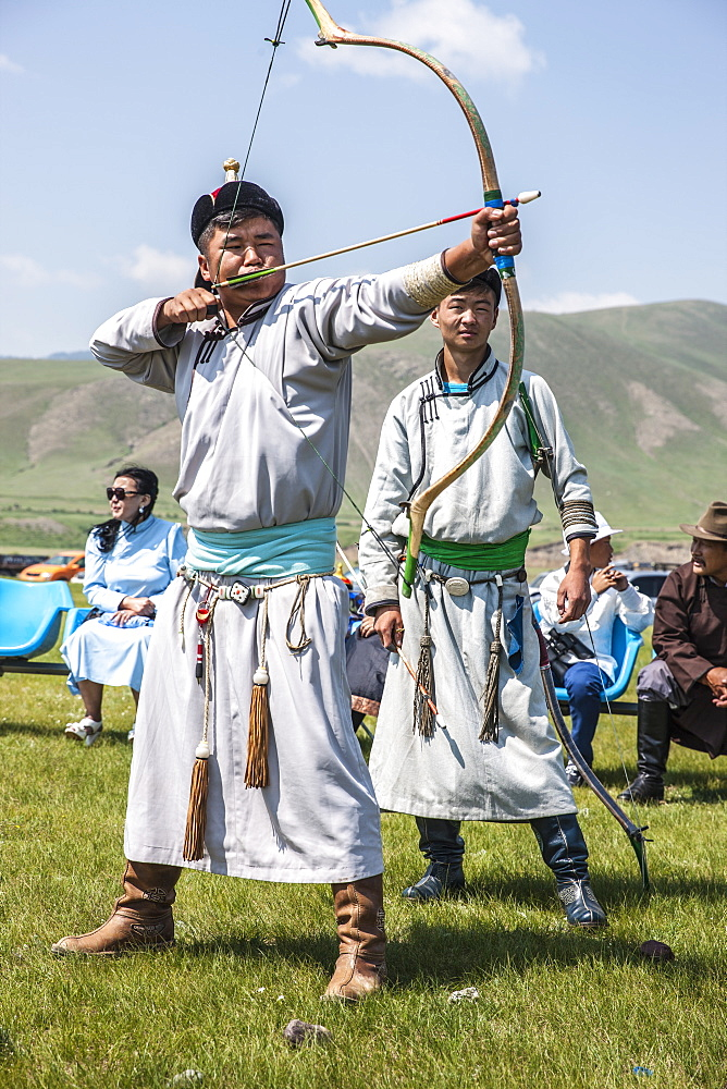 Archery at Naadam Festival, Mongolia, Central Asia, Asia - 1196-319