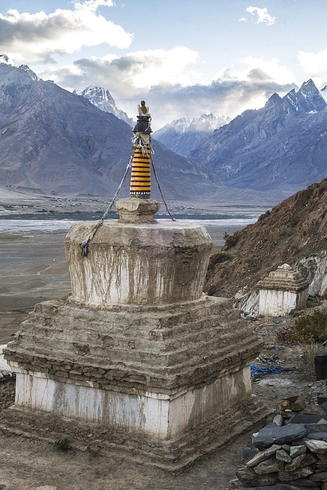 Chorten at Kachod Drub Ling Nunnery, .overlooking Kharsa Valley Ladakh, India. - 1196-339