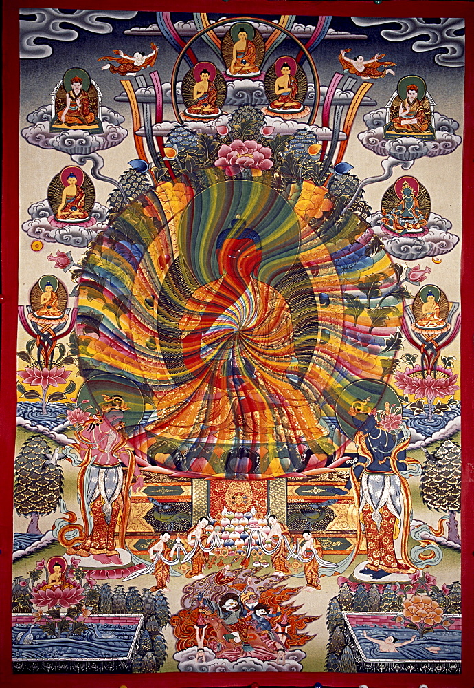 Amitaba thangka. Buddha amitaba radiating rainbow light to sentient beings - 1196-4