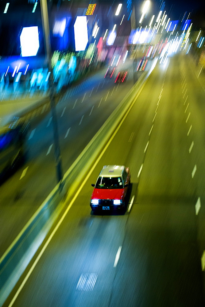 Taxi at night, Hong Kong, China, Asia