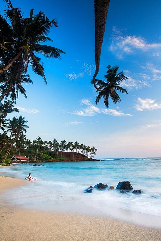 Tourist at Mirissa Beach, Matara District, Southern Province, Sri Lanka, Asia