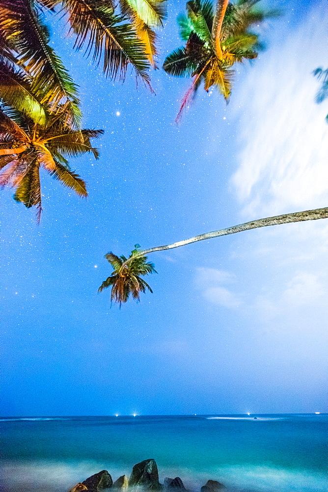 Mires Beach under stars, Mirissa, Sri Lanka, Asia