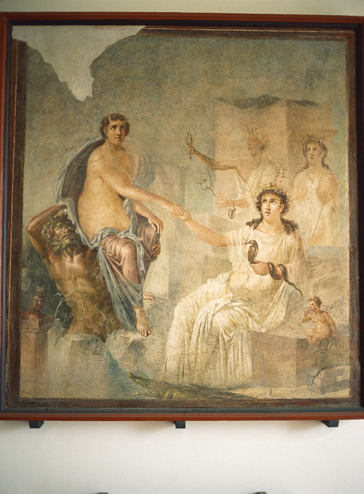 Fresco from Pompeii of Lo received by Isis at Canopus, Archaeological Museum, Naples, Italy, Europe - 120-2839