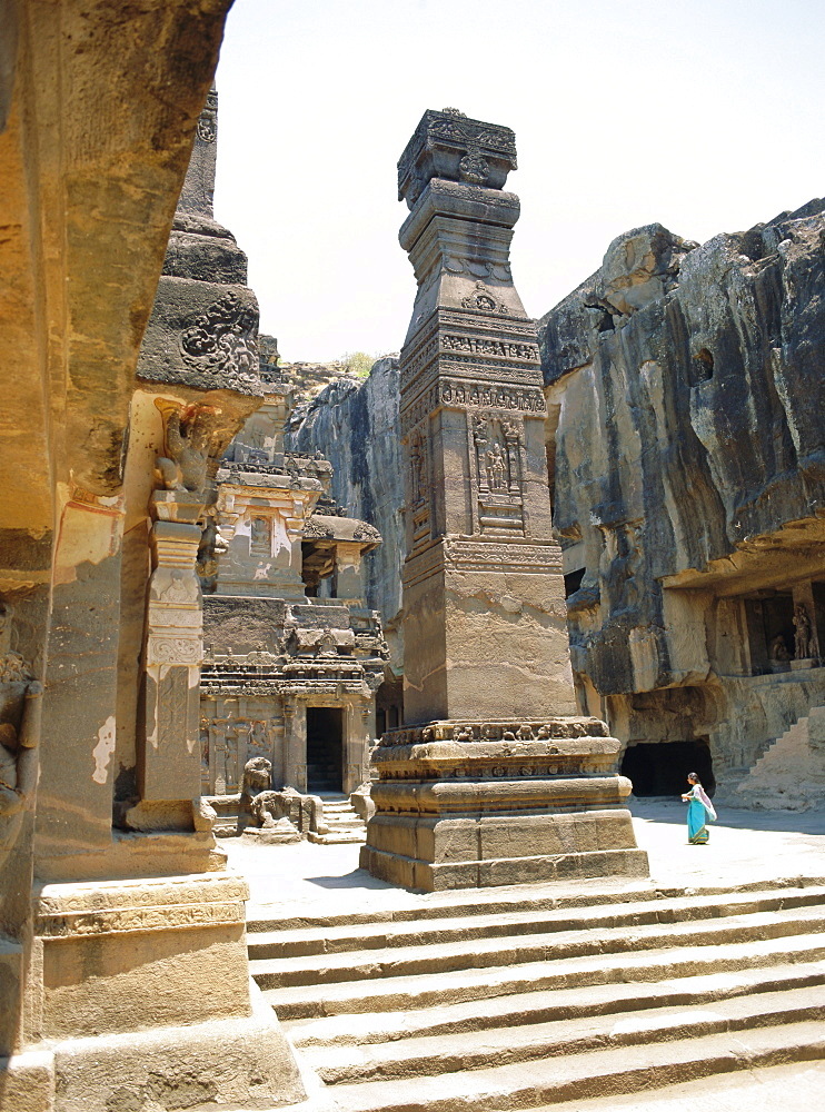 Huge column in SW of courtyard, Kailasa Temple, Ellora, India
