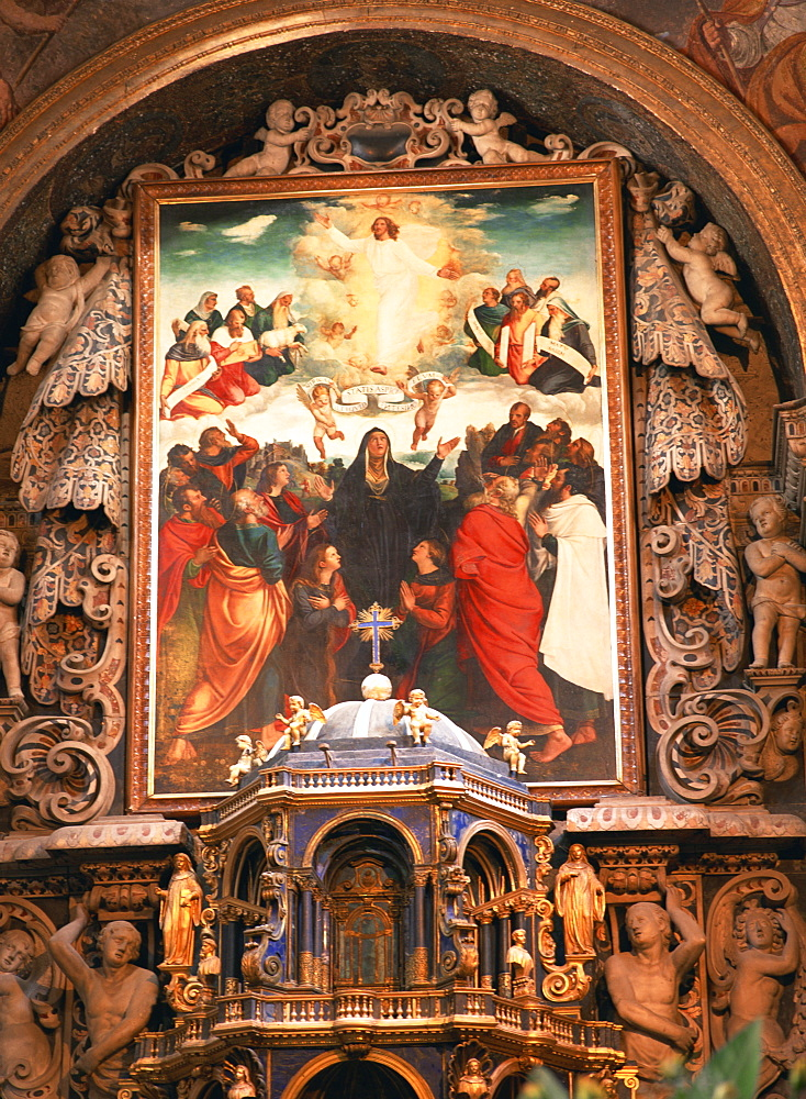 Painting of the Ascension by Vincenzo da Pavia, dating from 1533, above the altar of La Martorana, Palermo, Sicily, Italy, Europe - 120-4247