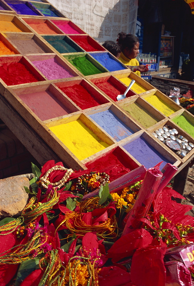 Stall selling coloured powder for rituals at entrance to Pashupatinath Temple, Kathmandu, Nepal, Asia - 120-4342