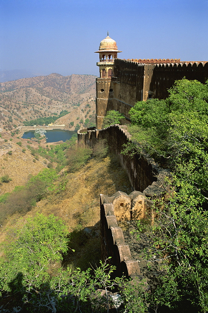 View from walls of Jaigarh fort, Amber, near Jaipur, Rajasthan state, India, Asia - 120-4358