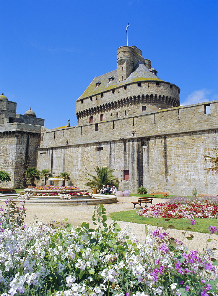 City walls near Porte St. Vincent in the old town of St. Malo, Brittany, France, Europe