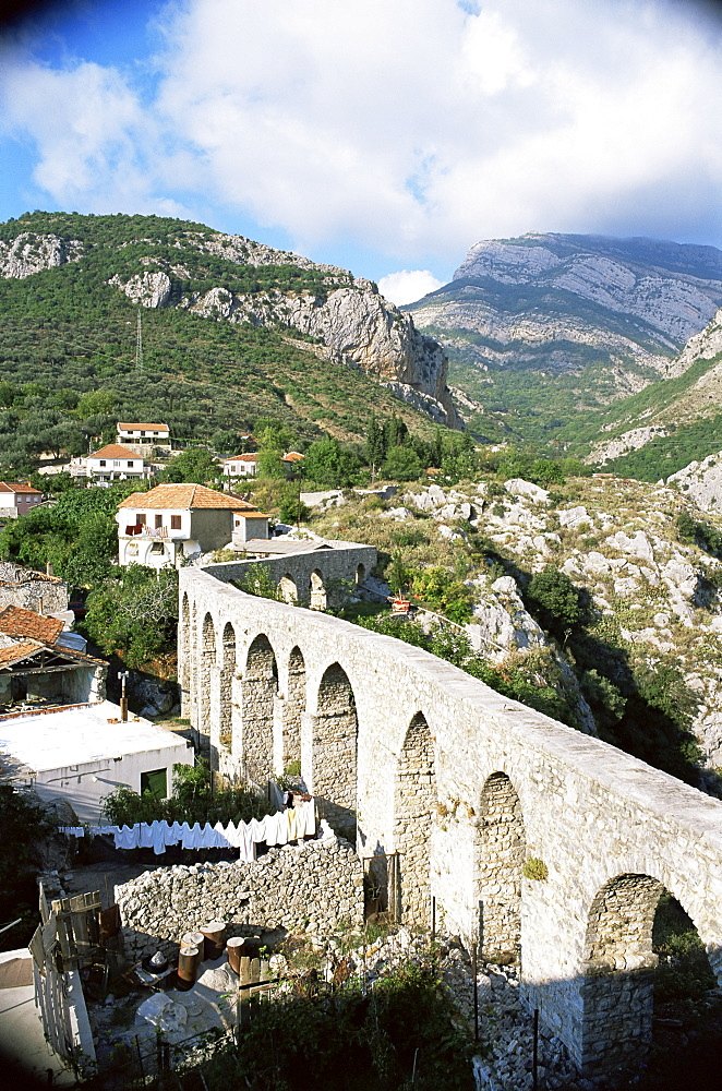 Aqueduct dating from the 17th century, supplying Stari Bar, founded by Justinian in the 6th century), near modern Bar, Montenegro, Europe