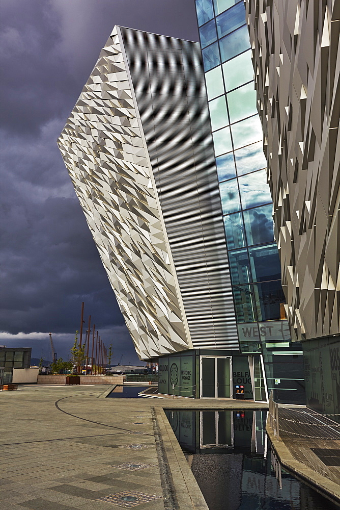 A view of the Titanic Museum, in the Titanic Quarter, Belfast, Ulster, Northern Ireland, United Kingdom, Europe