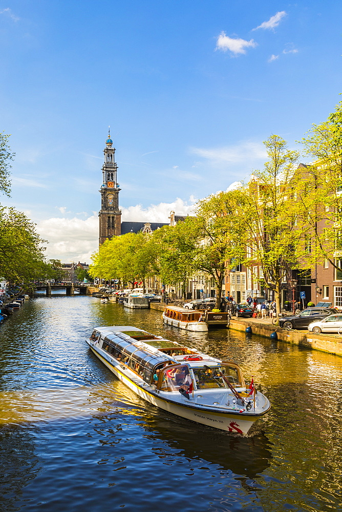 Boat on Prinsengracht canal, with Westerkerk in the background, Amsterdam, Netherlands - 1207-106
