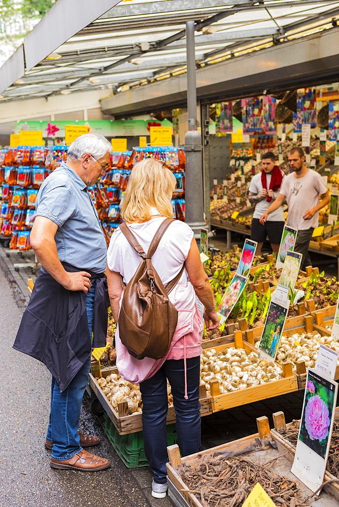 People browsing in Bloemenmarkt, Amsterdam, Netherlands - 1207-136