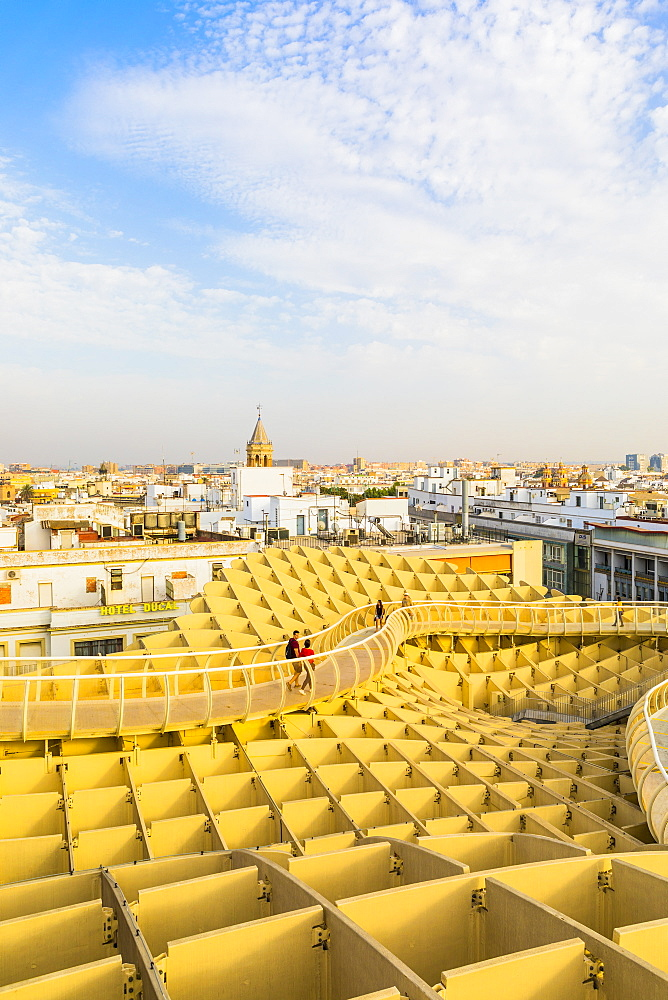 The view of the city from the top of Metropol Parasol, Seville, Andalucia, Spain, Europe - 1207-239